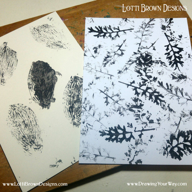 Printing with different leaves and black paint