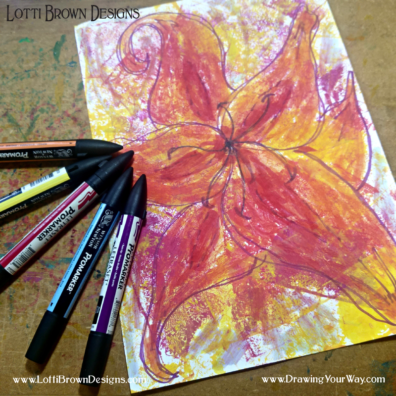 Drawing just for fun - a flower doodle drawn with Promarkers over the top of my printed page in similar colours. Fun to do, loose, and freeing - done for the experience of doing it and not for the result or how it turned out. Try it yourself!