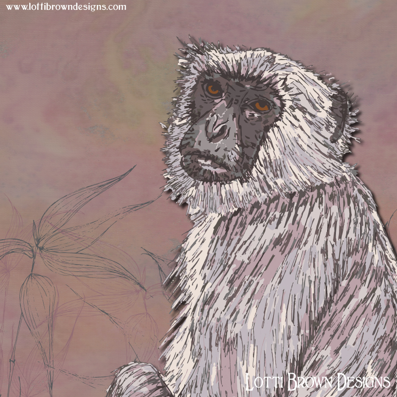 Showing detail from the Gray Langur artwork