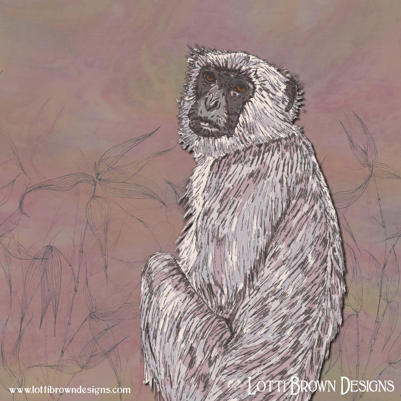 Soft colours and an expressive portrait with personality - Gray Langur artwork