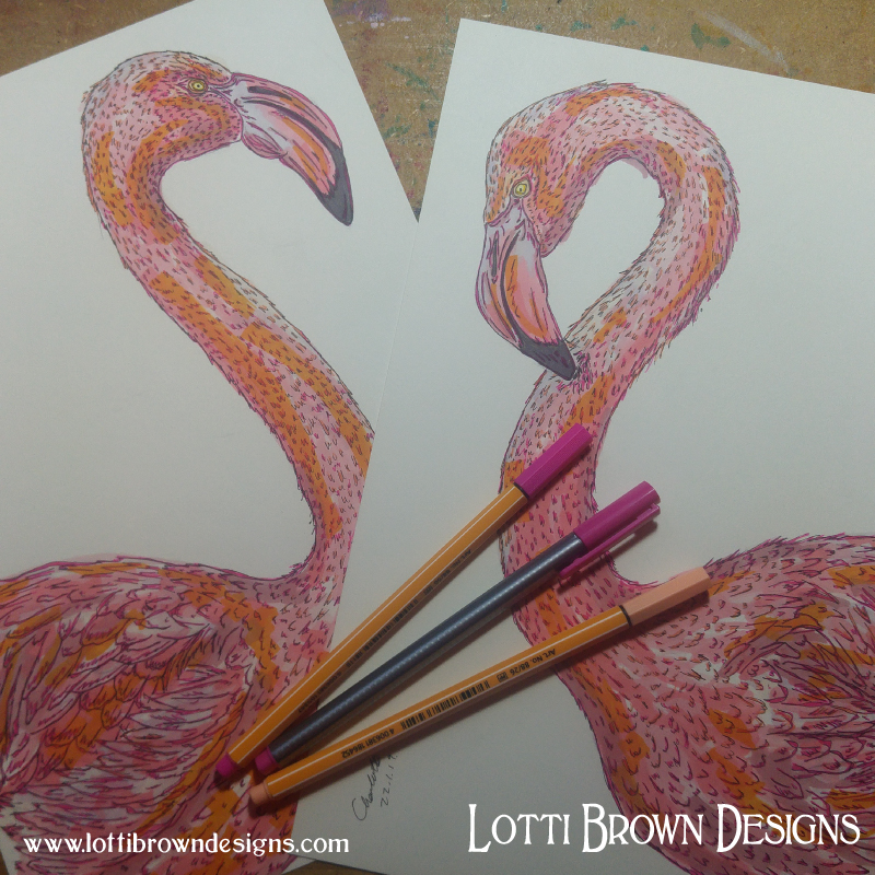 Pink Flamingo drawings - click to see how they became the artwork