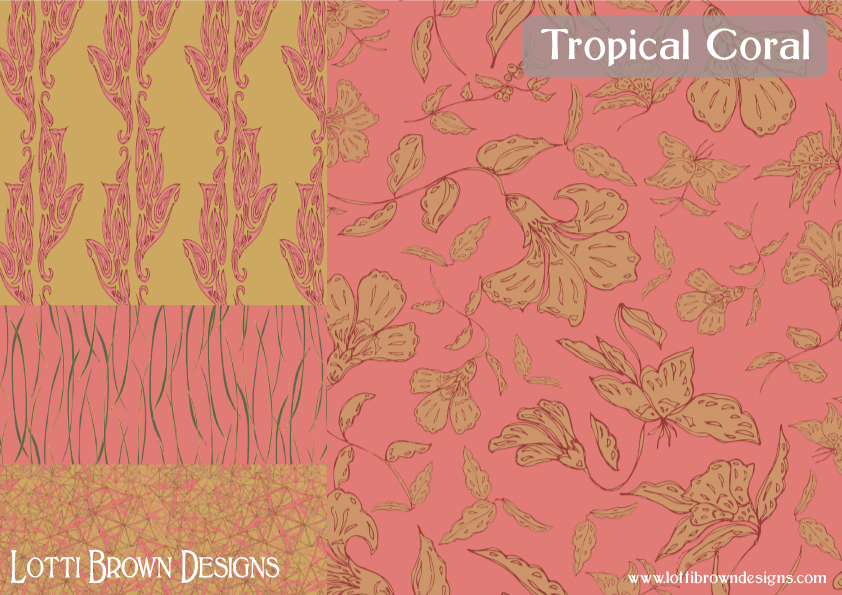 Tropical Coral fabric collection by Lotti Brown
