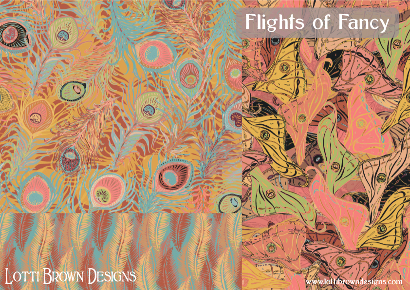 Flights of Fancy in soft coral - fabric collection by Lotti Brown