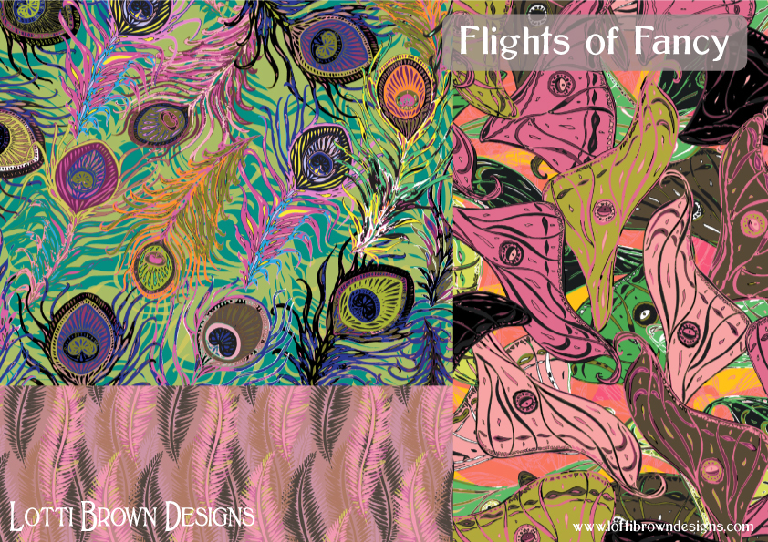 Flights of Fancy in pink and green - fabric collection by Lotti Brown