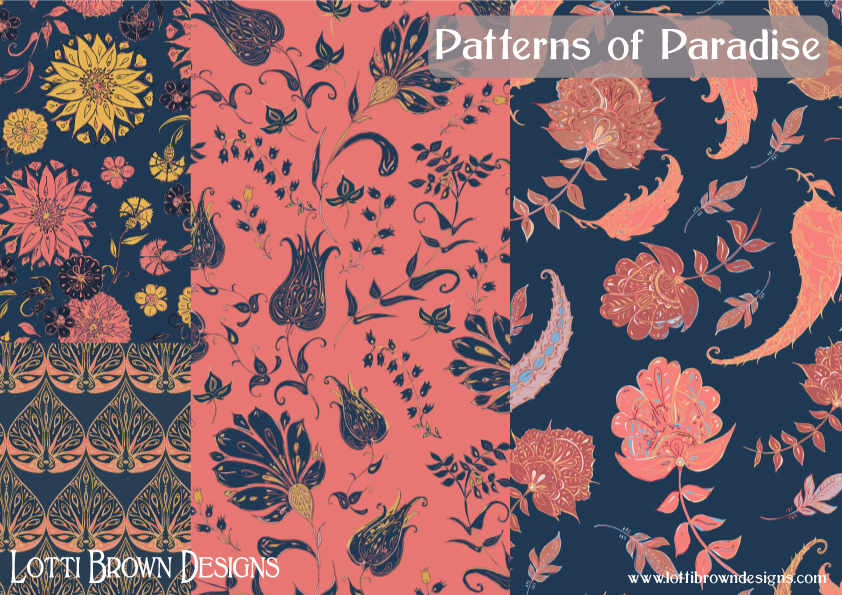 Patterns of Paradise in coral and blue - fabric collection by Lotti Brown