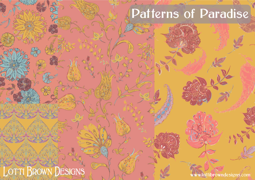 Patterns of Paradise in coral and yellow - fabric collection by Lotti Brown