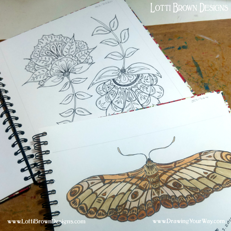 Drawing motifs for patterns in my sketchbooks and a moth drawing with marker pen - click to see it larger