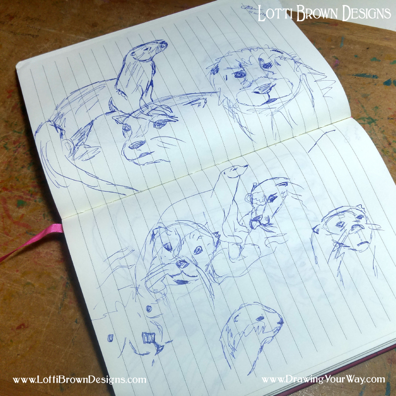 Making sketches of otters for an artwork idea - working in biro in a lined notebook - click to see it larger