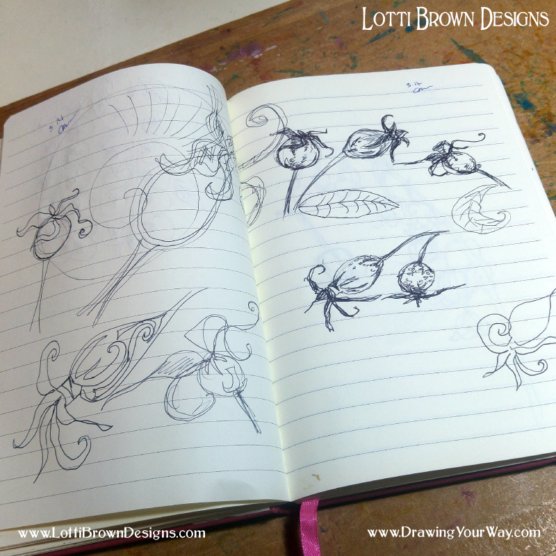 Rosehip sketches and doodles in a sketchbook - click to see it larger