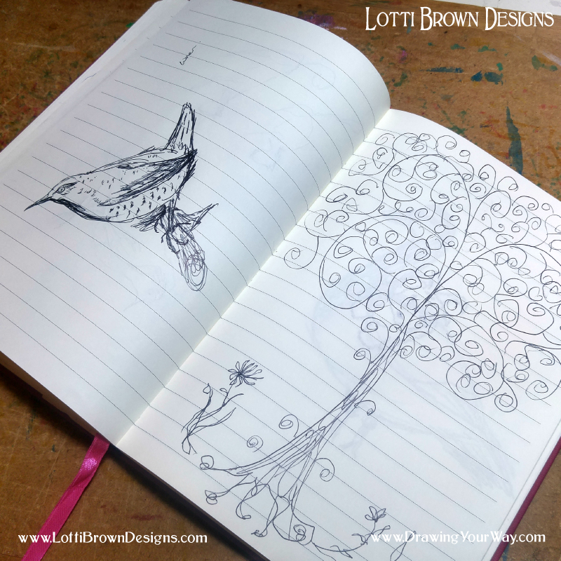 Bird sketch and fantasy tree doodle - searching for inspiration in a sketchbook