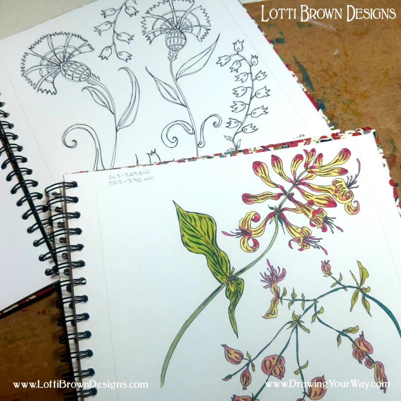 Floral drawings in my sketchbook