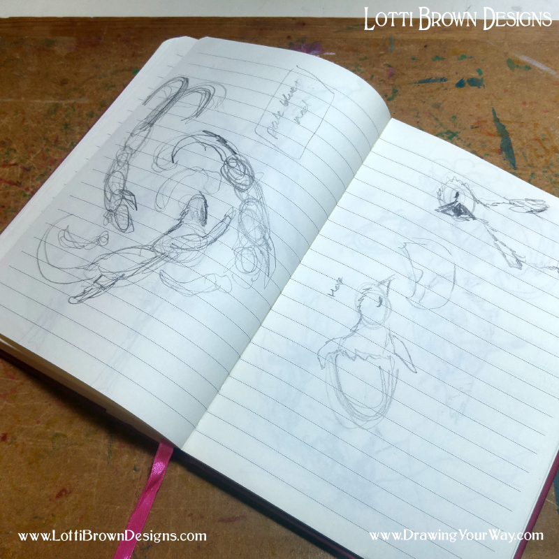 A rough sketch book for exploring ideas - messy and immediate for working out the process