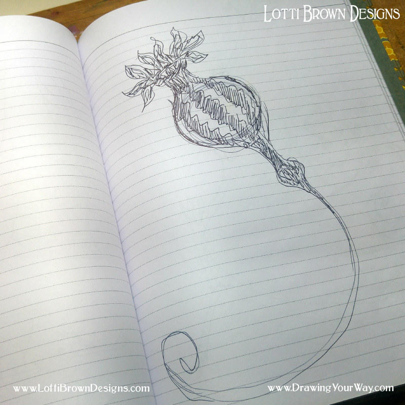Capturing drawing ideas in ball-point pen in a lined exercise book. A sketchbook is just a place where you should feel comfortable being yourself and exploring yourself.