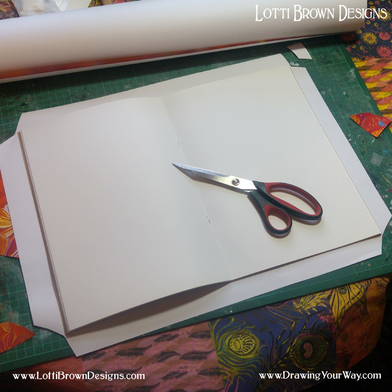 Cut paper a little larger than your sketchbook and trim the corners