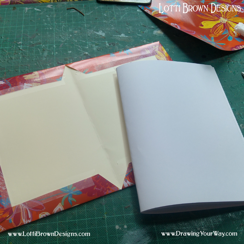 The cover is now made. The folded pages will be inserted as so.