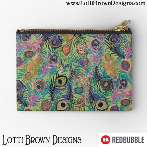 Peacock Feathers pouch by Lotti Brown at Redbubble - click pic to find it in the store