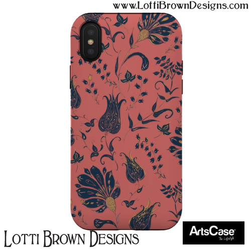 Coral floral patterned phonecase by Lotti Brown at ArtsCase - click pic to find it in the store
