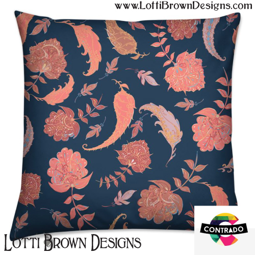 'Patterns of Paradise' cushion in coral and blue by Lotti Brown at Contrado - click pic to find it in the store