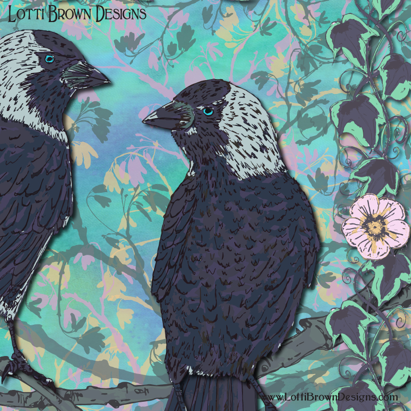 Detail from 'Forever Jackdaws' artwork by Lotti Brown