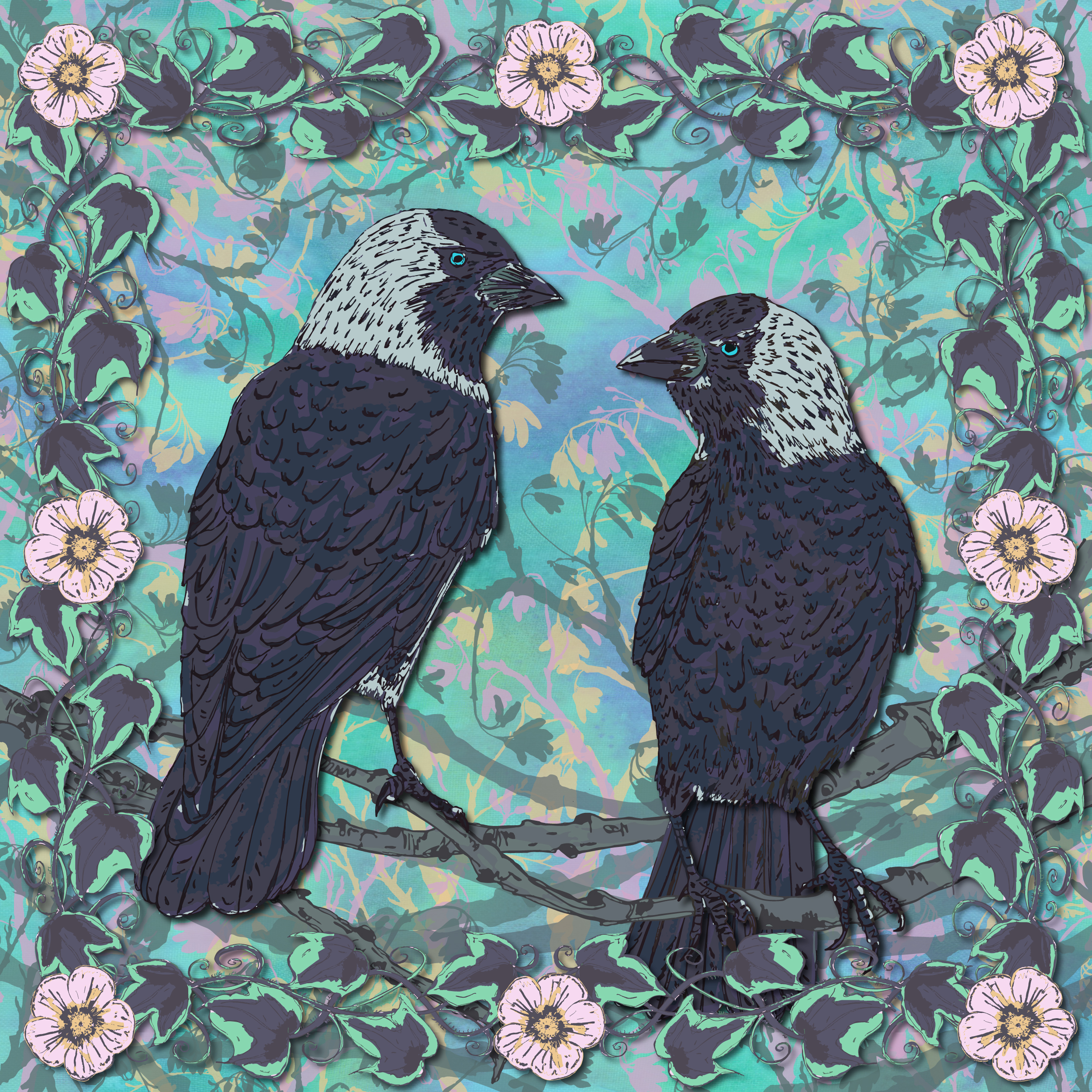 Richly-coloured, Celtic-inspired jackdaw art 'Forever Jackdaws'