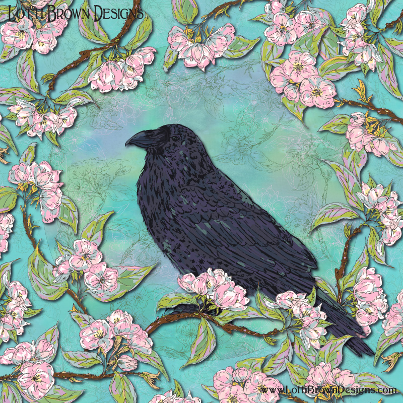 Raven and Apple Blossom artwork - completed digitally from pen/ink drawings