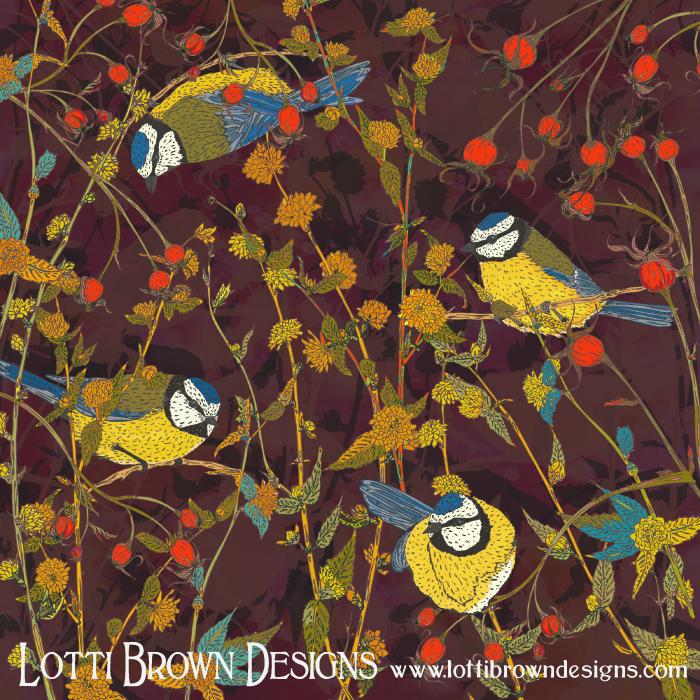 'Beautiful Bluetits' artwork by Lotti Brown