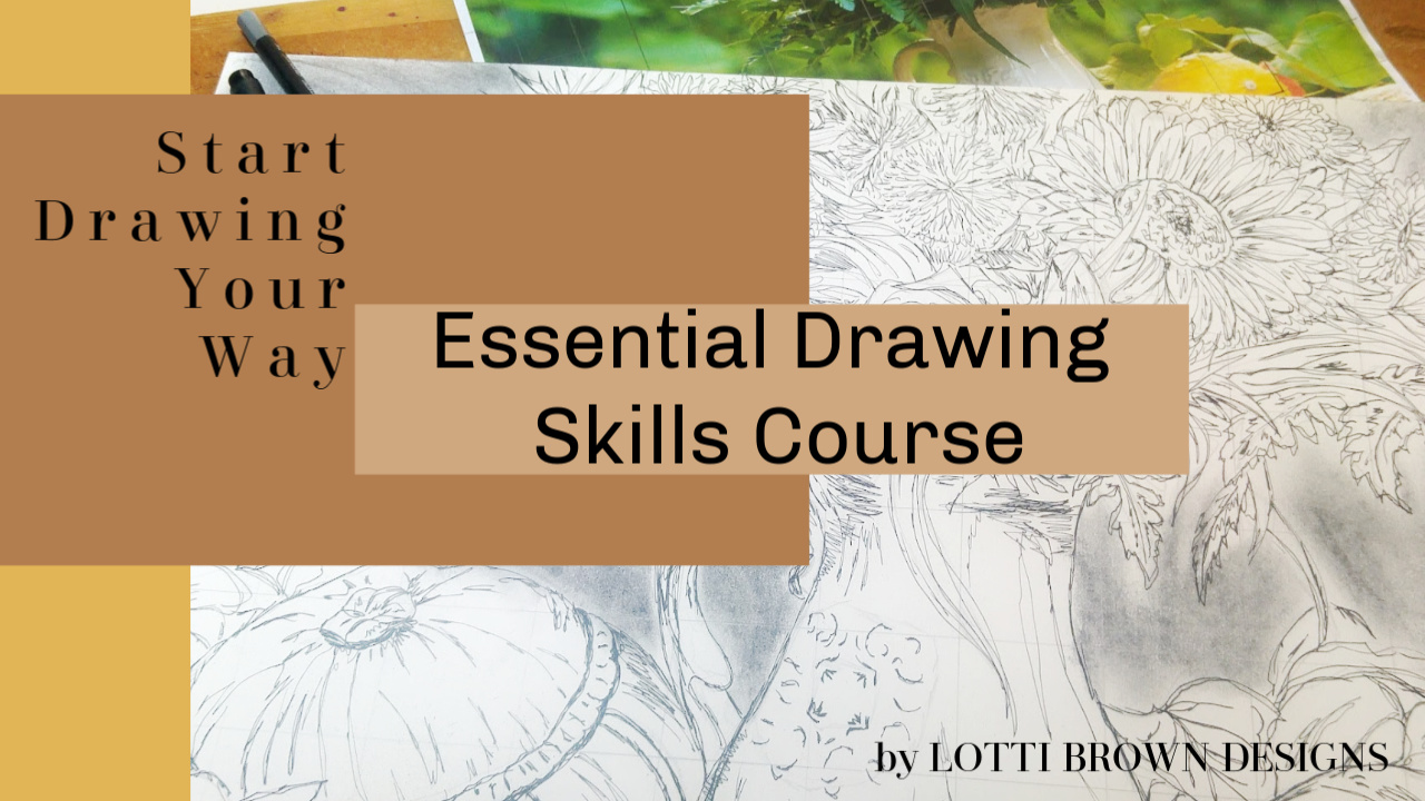Start Drawing your way essential drawing skills online course - feedback available for your drawings or choose the DIY version - click image for more