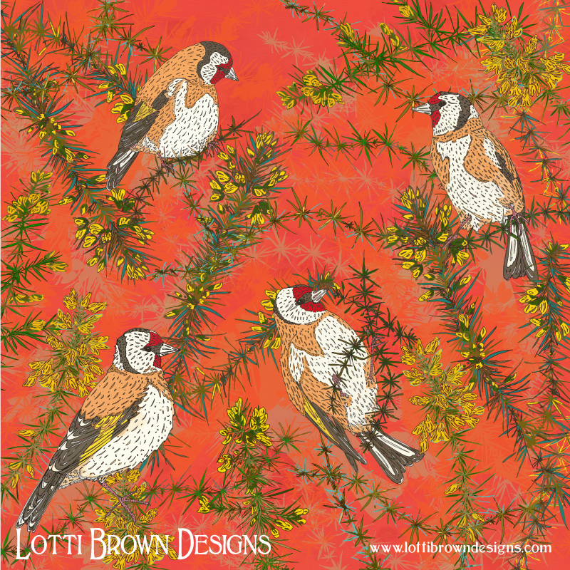Goldfinches in Gorse art by Lotti Brown