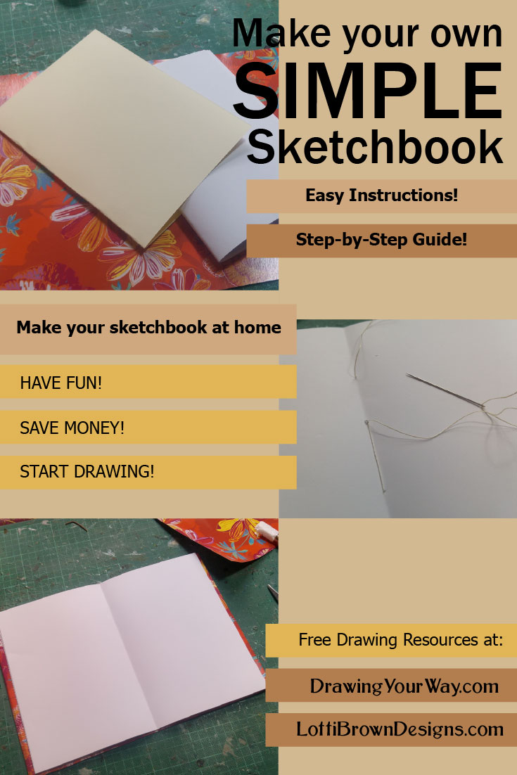Step-by-step Guide to making an easy sewn sketchbook at home