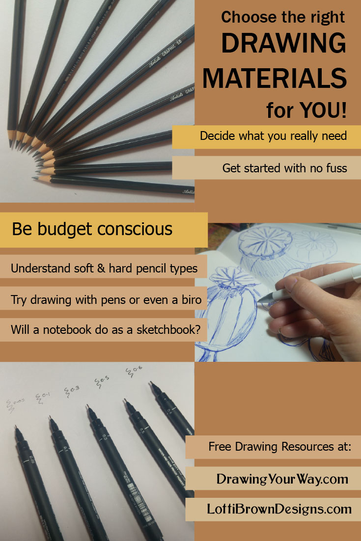 Choose the right drawing tools and materials for you, personally!