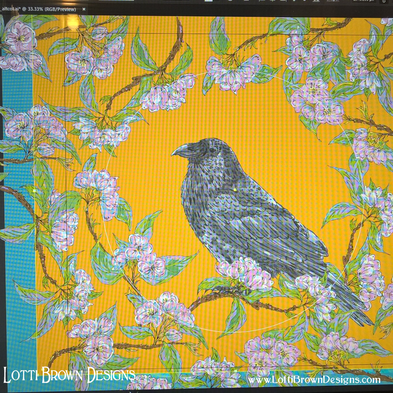 Creating the raven and blossom art digitally - click to see how...