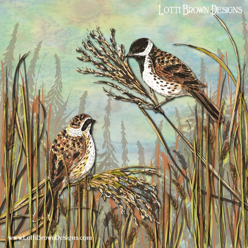 'Reed Buntings' art print by Lotti Brown