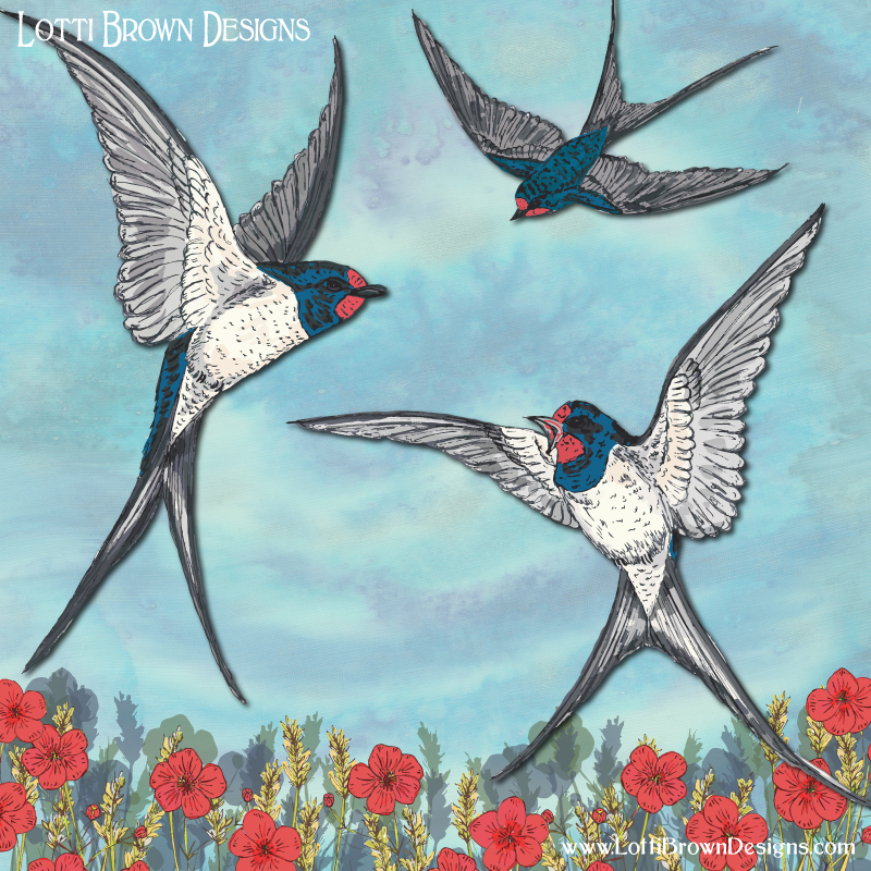 One swallow doesn't make a summer - Summer Swallows artwork by Lotti Brown