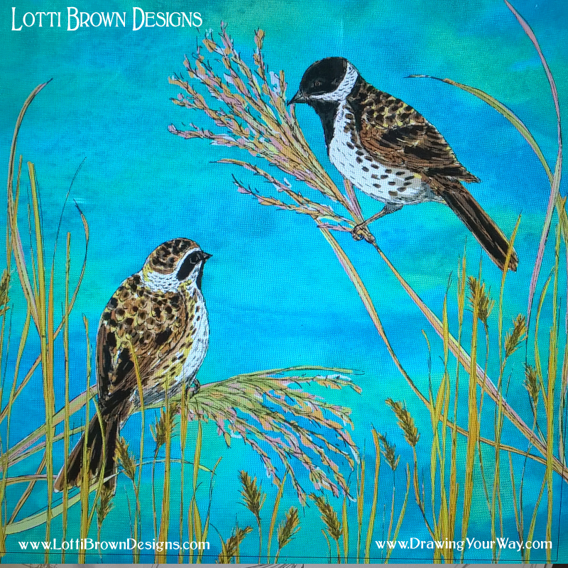 Reedbuntings Digital Art - click to see how it was made