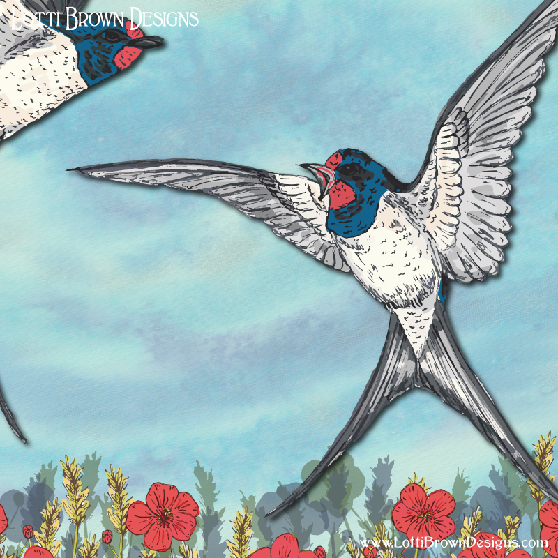 Showing detail from the swallows artwork