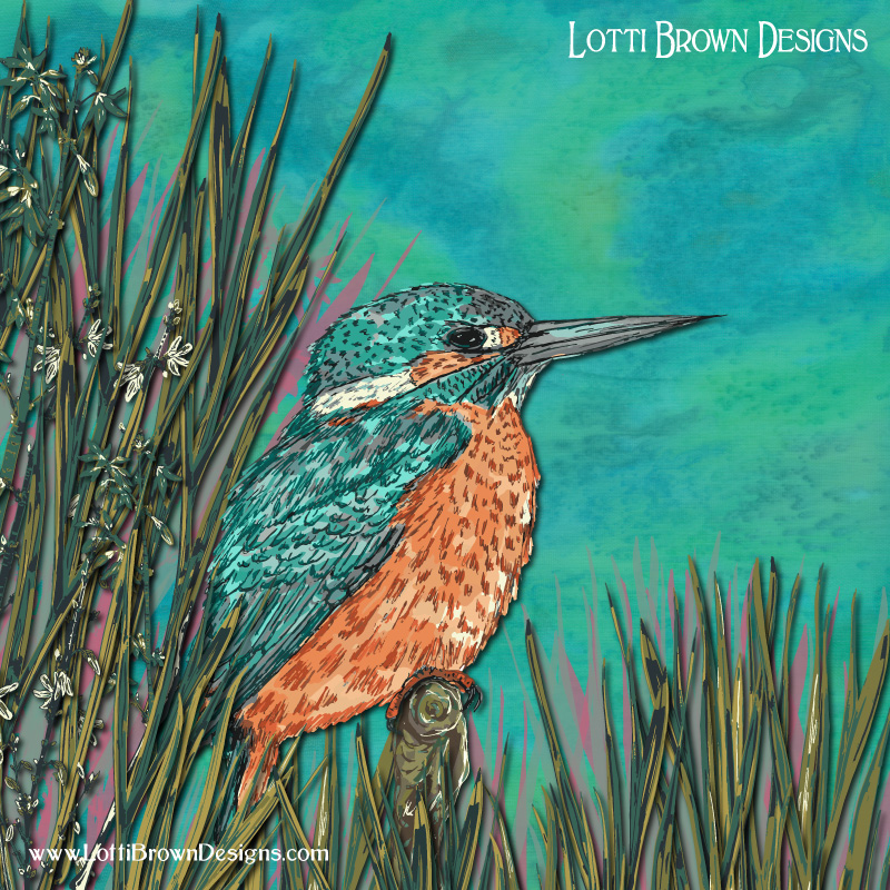 Colourful Kingfisher art by Lotti Brown