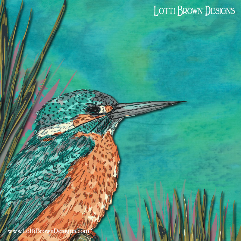 Artwork detail - trying to replicate the shimmer of a kingfisher through colour