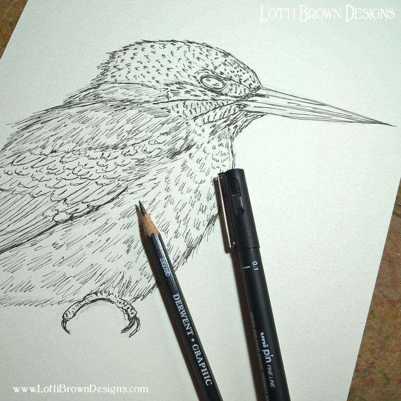 Drawing in fineliner pen