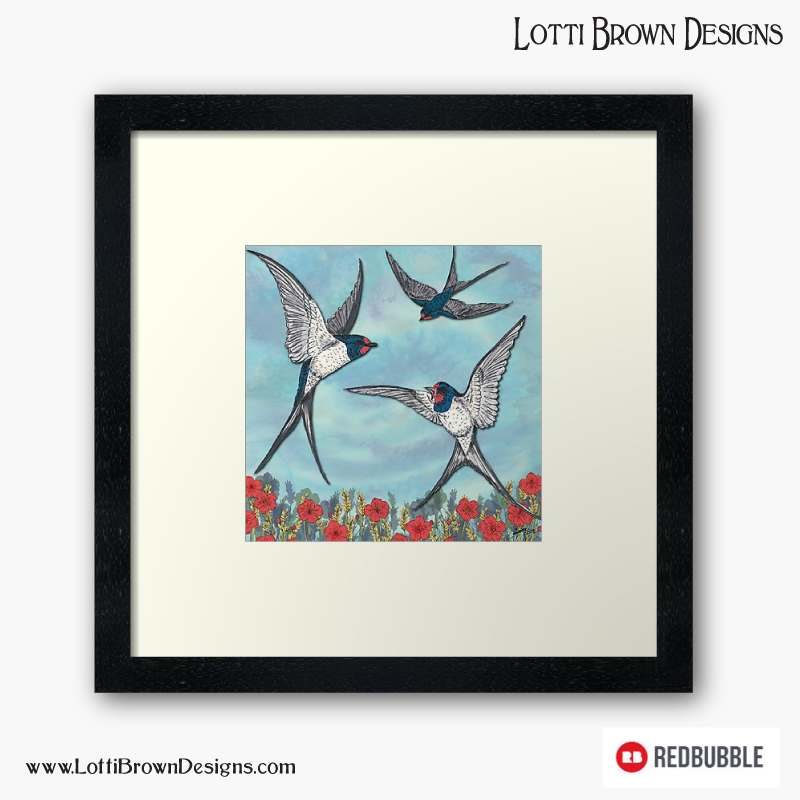 Summer Swallows framed art print by Lotti Brown at Redbubble - click image to go there