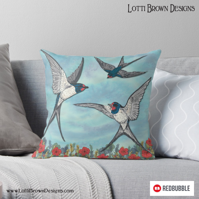My Summer Swallows printed on a throw pillow - at Redbubble - click image to go there