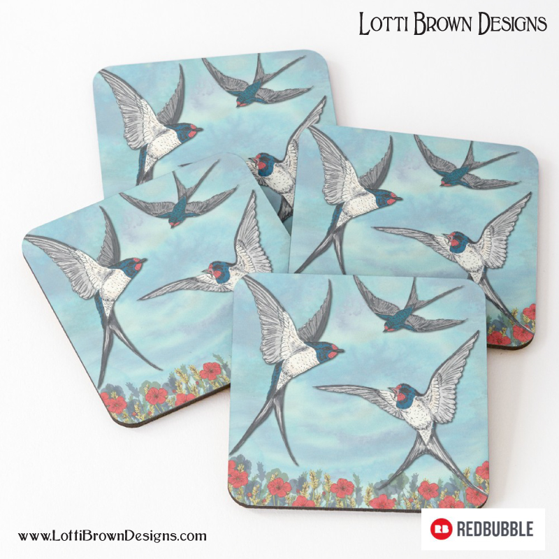 My Summer Swallows as colourful coasters - at Redbubble - click image to go there