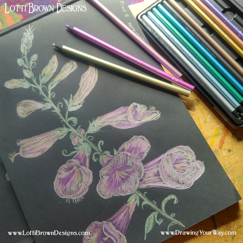 Try metallic coloured pencils on a dark paper