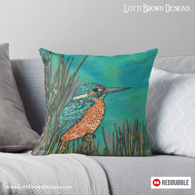 Kingfisher throw pillow - by Lotti Brown at Redbubble