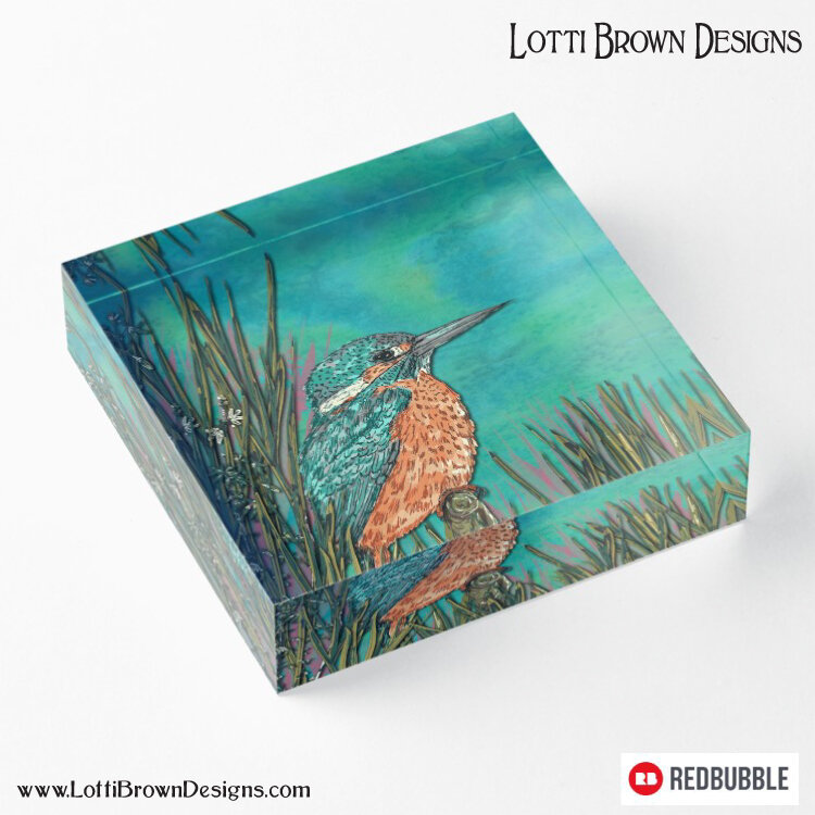 Kingfisher acrylic art block by Lotti Brown at Redbubble