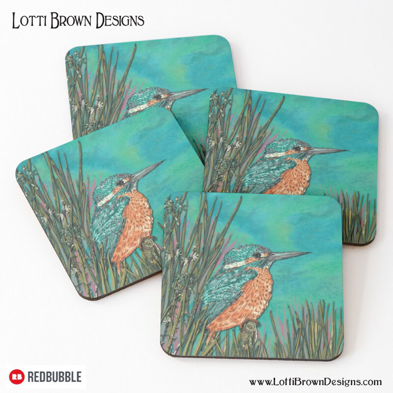 Kingfisher coasters by Lotti Brown at Redbubble