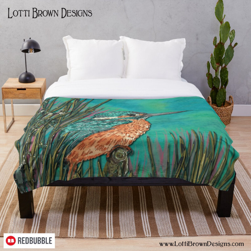 Kingfisher throw by Lotti Brown at Redbubble