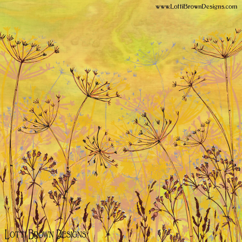 'Last Haze of Summer' colourful nature art in yellow - by artist Lotti Brown