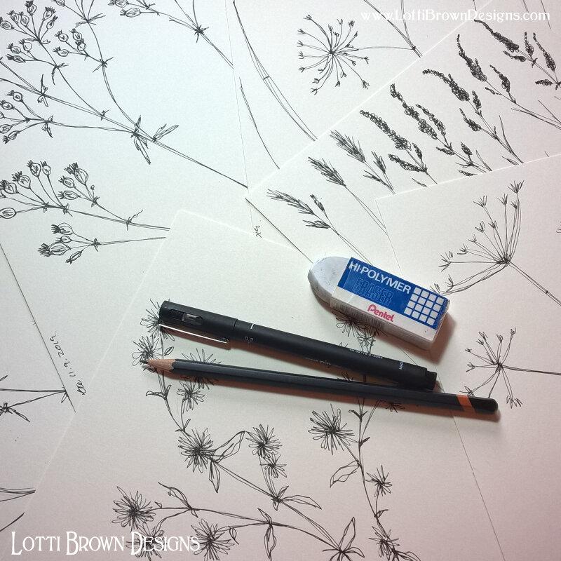 Foliage drawings in fineliner pen
