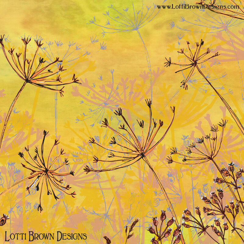 Showing detail from the nature artwork in yellow - note the blended background colours and intricate linework combined with vibrant colours.