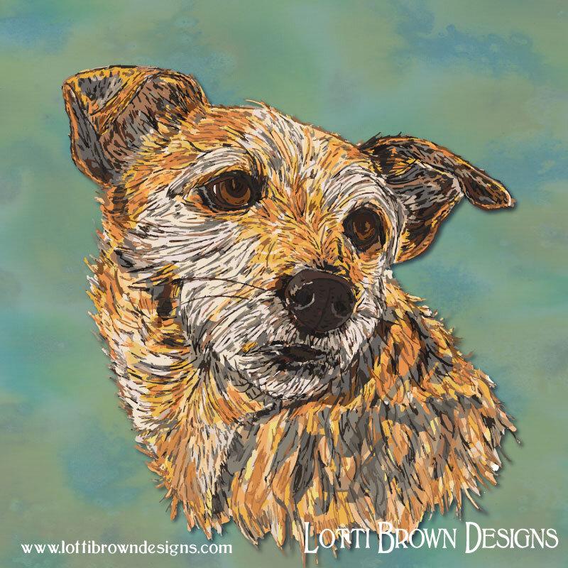 Custom pet portrait commissions by Lotti Brown